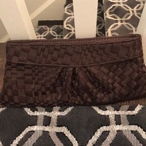 Lauren Merkin brown satin weave clutch